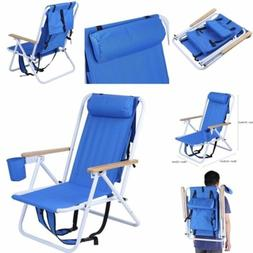 Solid Portable Folding Beach Chair Foldable Blue  Outdoor Ba