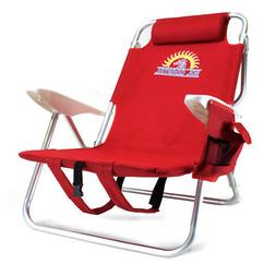 Red 4-Position Reclining Folding Beach Chair with Armrests,