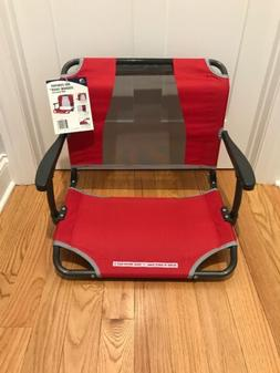 red big comfort stadium chair with armrests