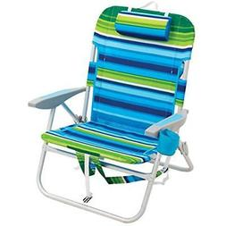 Rio Beach Chairs Big Boy Backpack Chair, Blue/Green Stripe S