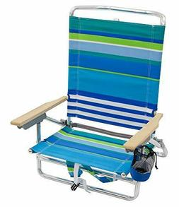 Rio Brands 5 Position Classic Lay Flat Beach Chair Outdoor T