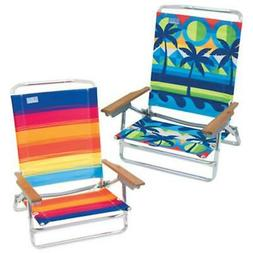 Rio Brands SC590-TS Sand Chair, 5-Position, Wood Arms, Assor