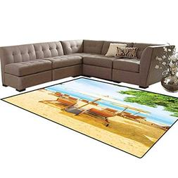 Seaside Bath Mats for Floors Umbrella and Chairs on Tropical