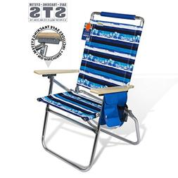High Seat Beach Folding Chair Lightweight Alumium Frame Recl