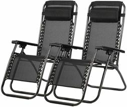 Set of 2 New Zero Gravity Chairs Lounge Patio Chairs Outdoor