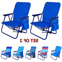 Set of 2 - Steel Backpack Beach Chair and Camping Sports Cha