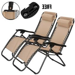 Set Of 2 Zero Gravity Chairs Folding Lounge Patio Outdoor Re