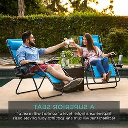 Set Of 2 Zero Gravity Patio Chairs w/ Cup Holder Folding Out
