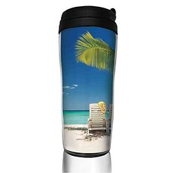 Stainless Steel Insulated Coffee Travel Mug,on Remote Beach