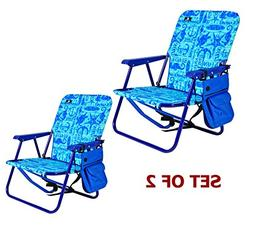 Steel Backpack Beach Chair and Camping Sports Chair - Set of