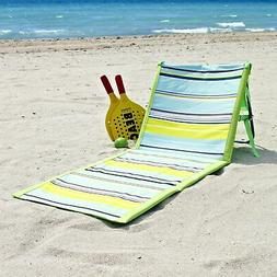 Striped Beach Lounger Chair - Padded Folding Mat - Blue/Gree