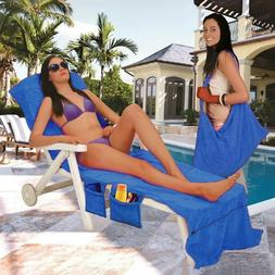 Sun Mate Lounger Chair Beach Towel for Adults with Pockets a