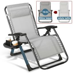 "Super Width 23"" Zero Gravity Folding Lounge Beach Chairs W/H"