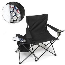Tailgating Chair w Insulated Cooler- XXL Size Collapsible Fo
