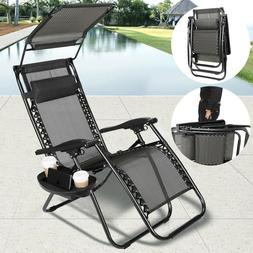 Thicken 2Pcs Zero Gravity Folding Lounge Beach Chairs W/Cano