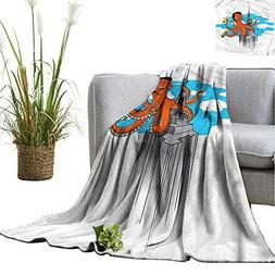 WinfreyDecor Throw Blanket Hotel Quality Octopus for Beach C