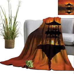 WinfreyDecor Throw Blanket Machine Washable Balinese for Cha