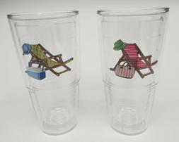Tervis Tumbler BEACH CHAIR LOT of 2 Tall 24 oz HIS/HER Pink