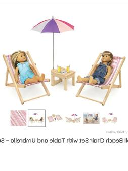 Two Doll Beach Chair Set with Table and Umbrella - For 18""