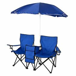 US Folding Fishing Picnic Beach Chair with Umbrella Table 2P