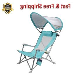 Waterside Sun Shade Folding Beach Recliner Chair with Adjust