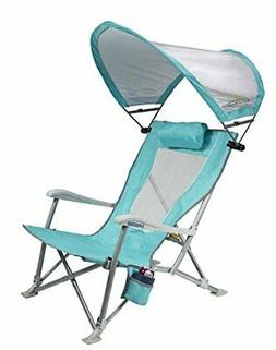 Waterside SunShade Folding Beach Recliner Chair with Adjusta