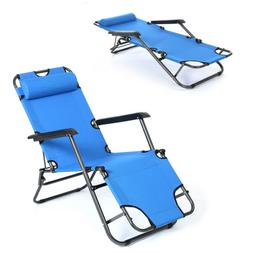 Zero Gravity Blue Folding Reclining Chair Chaise Lounge Recl
