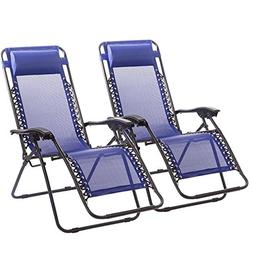 FDW Zero Gravity Chairs Case of 2 Blue Lounge Patio Chairs O