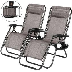 Case Of 2 Gray Zero Gravity Chairs Patio Yard Lounge Beach O
