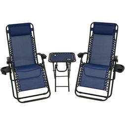 Zero Gravity Navy Blue Sling Beach Chairs With Side Table